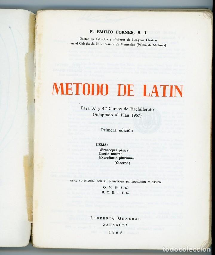 Libros de segunda mano: Método de Latín para 3º y 4º de Bachillerato. Emilio Fornés, SL. - Foto 2 - 194322746