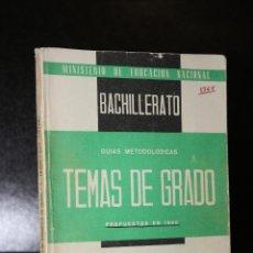 Libros de segunda mano: TEMAS DE EXÁMENES DE GRADO SUPERIOR DE BACHILLERATO. GRIEGO (METODOLOGÍA-TEMAS).. Lote 194377821