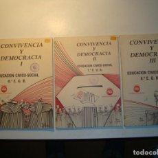 Libros de segunda mano: LOTE 3 LIBROS CONVIVENCIA Y DEMOCRACIA. EDUCACIÓN CÍVICO-SOCIAL I, II Y III. 6º, 7º Y 8º E.G.B. 1977. Lote 194718913