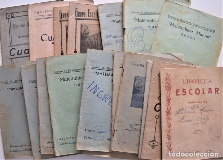 LOTE 20 CUADERNOS DE ALUMNO DE CENTROS DE SUECA (VALENCIA) INCLUIDO GUERRA CIVIL (VER FOTOGRAFÍAS) (Libros de Segunda Mano - Libros de Texto )