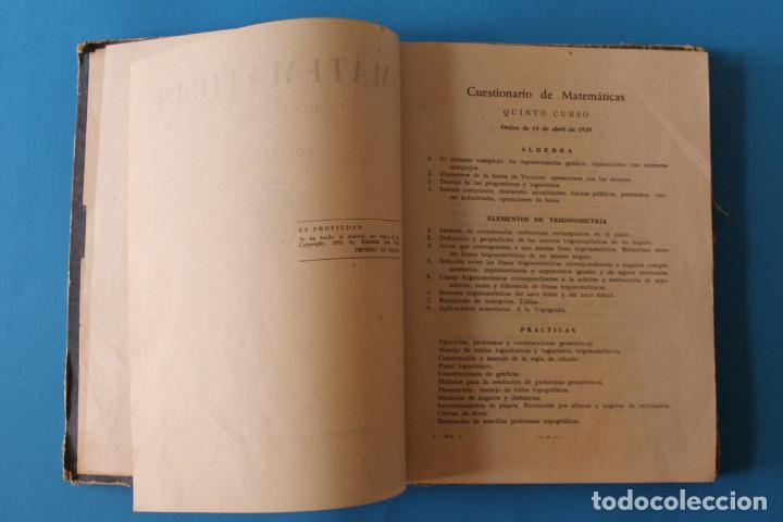 Libros de segunda mano: Libro Matemáticas Quinto Curso - Luis Vives - 1951 - Foto 3 - 195343438