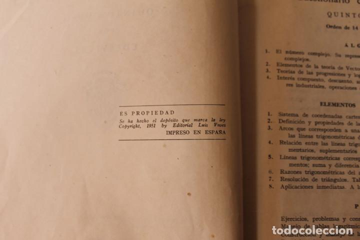 Libros de segunda mano: Libro Matemáticas Quinto Curso - Luis Vives - 1951 - Foto 4 - 195343438