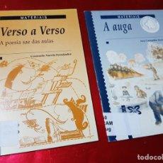 Libros de segunda mano: LIBROS/CUADERNOS-MATERIAIS-GALLEGO-A AUGA+VERSO A VERSO-CONSUELO VARELA FERNANDEZ-ANA CAMPILLO RUÍZ. Lote 195389352