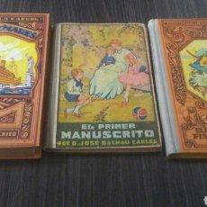 Libros de segunda mano: LOTE DE 3 ANTIGUOS LIBROS DE ESCUELA EN MUY BUEN ESTADO CON FLORES DE EPOCA Y ALGUN RECORTABLE. Lote 195426632