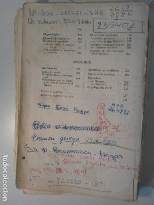 Libros de segunda mano: Gramática Griega bosch Casa Editorial Barcelona 1972 Jaime Berenguer Defectuoso - Foto 17 - 197144628