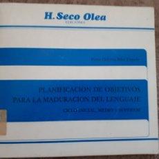 Libros de segunda mano: PLANIFICACION OBJETIVOS MADURACION LENGUAJE - H. SECO OLEA - SURCO CASTELLON. Lote 213558768