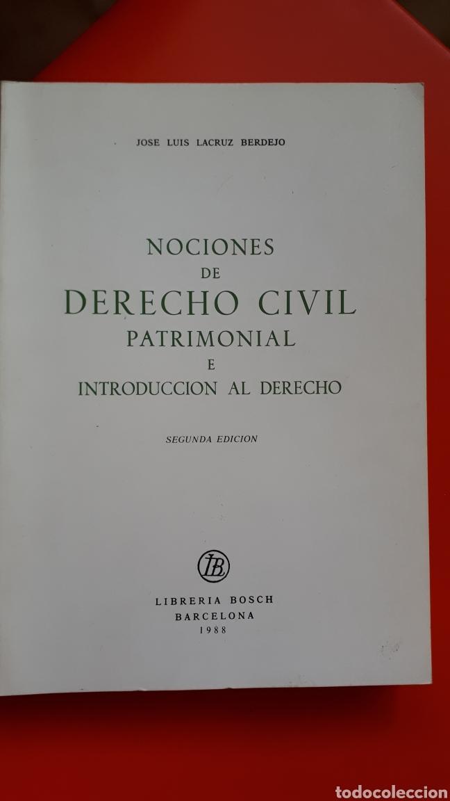 NOCIONES DERECHO CIVIL PATRIMONIAL - LACRUZ BERDEJO (Libros de Segunda Mano - Libros de Texto )
