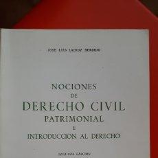 Libros de segunda mano: NOCIONES DERECHO CIVIL PATRIMONIAL - LACRUZ BERDEJO. Lote 214923633