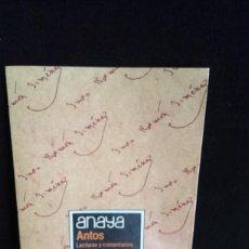 Libros de segunda mano: ANAYA - ANTOS - LECTURAS Y COMENTARIOS 8 - EQUIPO TROPOS - 8º EGB. Lote 216810285