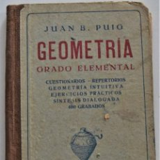 Libros de segunda mano: GEOMETRÍA, GRADO ELEMENTAL - JUAN B. PUIG - DALMAU CALRLES PLA EDITORES - AÑO 1940. Lote 223520545