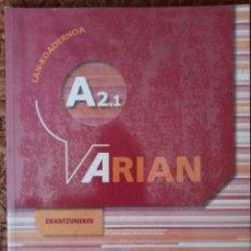 Libros de segunda mano: ARIAN A2.1 LAN-KOADERNOA (+ERANTZUNAK). Lote 275024968
