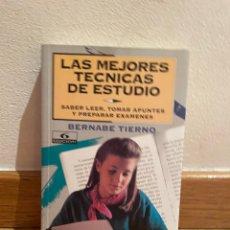 Libros de segunda mano: LAS MEJORES TÉCNICAS DE ESTUDIO BERNABÉ TIERNO. Lote 279439963