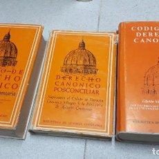 Libri di seconda mano: TRES LIBROS CODIGO DERECHO CANONICO. Lote 284127608