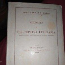 Libros de segunda mano: BACHILLERATO NOCIONES DE PRECEPTIVA LITERARIA JOSE CIURANA MAIJÓ CUARTA EDICIÓN ARIEL 1944 PROGRAMA. Lote 289860923