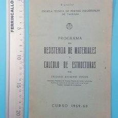 Libros de segunda mano: PROGRAMA DE RESISTENCIA DE MATERIALES Y CALCULO DE ESTRUCTURAS, ISIDRO ROMEU VIVES 1959-60 12 PAG. Lote 295441228