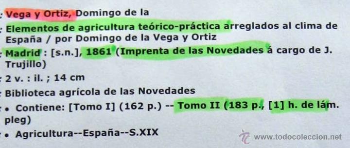 Libros: ELEMENTOS DE AGRICULTURA- VEGA Y ORTIZ -MADRID 1861 - Foto 6 - 54964197