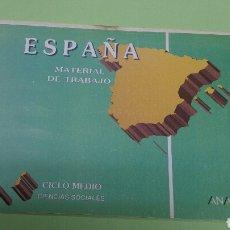 Libros: BLOC MATERIAL DE TRABAJO CICLO MEDIO SOCIALES ESPAÑA ANAYA LLEVA SUS PEGATINAS 1990. Lote 121898587