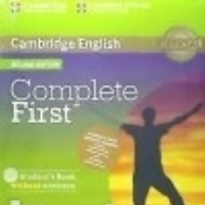 Libros: COMPLETE FIRST FOR SPANISH SPEAKERS STUDENT'S PACK WITHOUT ANSWERS (STUDENT'S BOOK WITH CD-ROM,. Lote 125935135