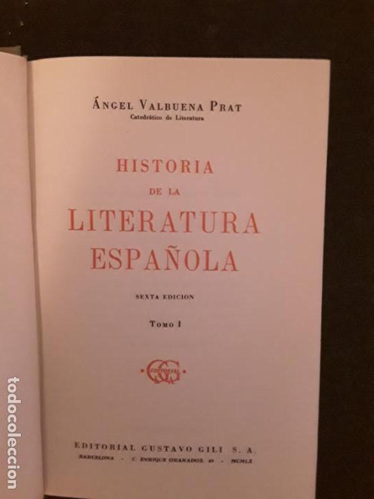 Libros: Valbuena Prat, Angel. Historia de la Literatura Española. Tres tomos. - Foto 3 - 146125878