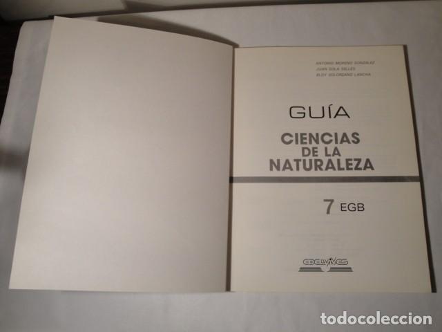 Libros: Solucionario-Guía Ciencias de la Naturaleza 7º E.G.B. Editorial Luis Vives. Año 1985 - Foto 2 - 148765490