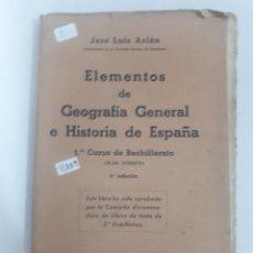Libros: 11209 - ELEMENTOS DE GEOGRAFIA GENERAL E HISTORIA DE ESPAÑA. Lote 154613586