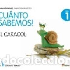 Libros: CUANTO SABEMOS: EL CARACOL NIVEL 1, 3 AÑOS. Lote 171496935