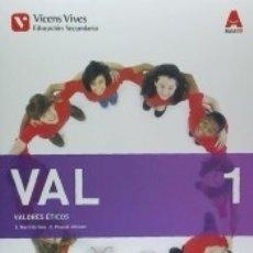 Libros: VAL 1 (VALORES ETICOS ESO) AULA 3D. Lote 171585683
