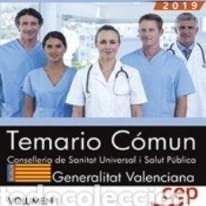 Libros: CONSELLERIA DE SANITAT UNIVERSAL I SALUT PÚBLICA. GENERALITAT VALENCIANA. TEMARIO COMÚN VOL. I.. Lote 183188418