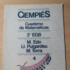 Livres: CIENPIÉS. CUADERNO DE MATEMÁTICAS 3EGB N 4. NUEVO. Lote 189509912