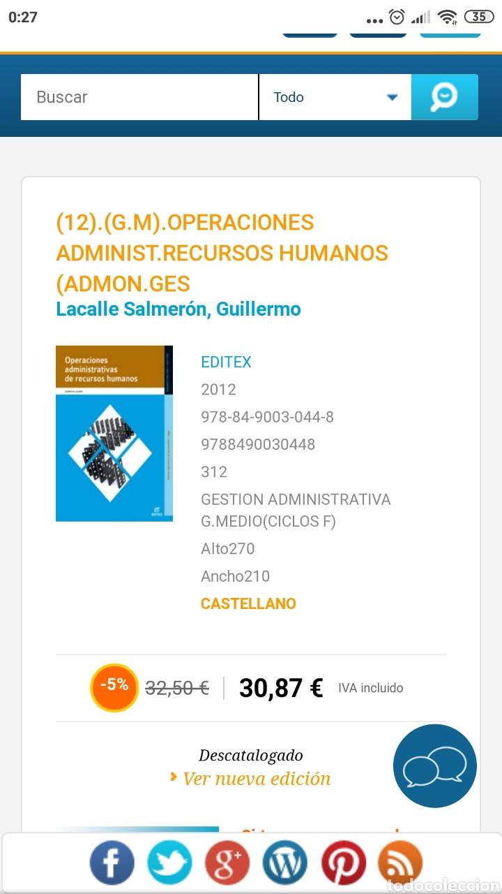Libros: Operaciones administrativas de recursos humanos. Administración y gestión. Editex 2012. Lacalle - Foto 12 - 219137401