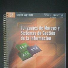 Libros: LENGUAJES DE MARCAS Y SISTEMAS DE GESTIÓN DE LA INFORMACIÓN. Lote 228954740