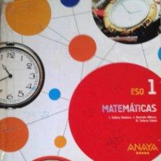 """Libros: 1º ESO MATEMÁTICAS - ANAYA """"APRENDER ES CRECER"""". Lote 269194218"""