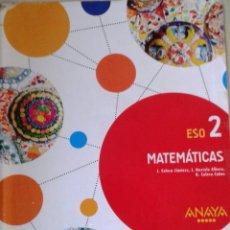 """Libros: MATEMÁTICAS 2º ESO ANAYA """"APRENDER ES CRECER"""". Lote 269197753"""