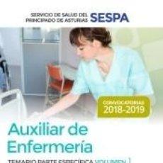 Libros: AUXILIAR DE ENFERMERÍA DEL SERVICIO DE SALUD DEL PRINCIPADO DE ASTURIAS (SESPA). TEMARIO PARTE. Lote 277025213