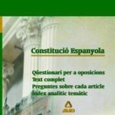 Libros: CONSTITUCIO ESPANYOLA. QUESTIONARI PER A OPOSICIONS. Lote 278933778