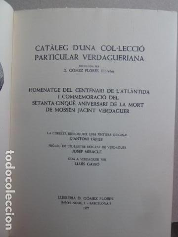 Libros: CATALEG D,UNA COL-LECIO PARTICULAR VERDAGUERIANA SOBRE J,VERDAGUER PORTADA A.TAPIES - Foto 4 - 99382743