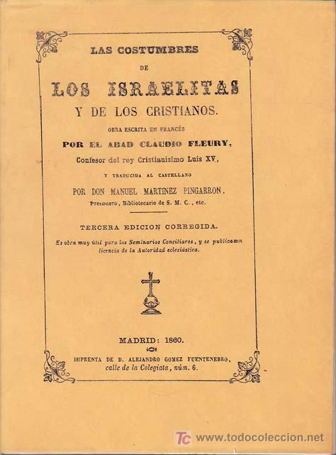 LAS COSTUMBRES DE LOS ISRAELITAS Y DE LOS CRISTIANOS (Libros sin clasificar)