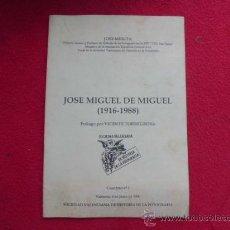 Libros: LIBRO JOSE MIGUEL DE MIGUEL (1916-1988) VICENTE TORREGROSA 1990 VALENCIA L-2252. Lote 34136411