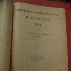 Libros: REPERTORIO CRONOLÓGICO DE LEGISLACIÓN 1933 POR ESTANISLAO DE ARANZADI (ABOG). 1ª ED. PAMPLONA. 1933.. Lote 40192029