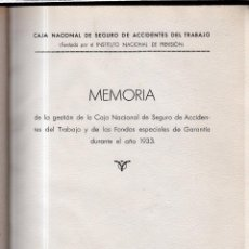 Libros: MEMORIA DE LA GESTIÓN DE LA CAJA NACIONAL DE SEGURO DE ACCIDENTES DEL TRABAJO Y DE LOS FONDOS..... Lote 42359677