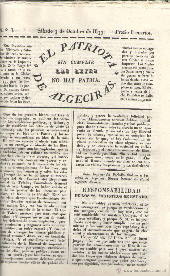 PERIODICO EL PATRIOTA DE ALGECIRAS SIN CUMPLIR LAS LEYES NO HAY PATRIA - VVAA (Libros sin clasificar)
