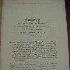 Libros: JUAN MADRAZO. CONTESTACION QUE DA AL M. I. CABILDO DE LA CATEDRAL DE LEÓN. 1878.. Lote 45751933