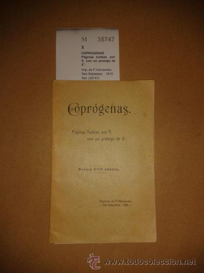 COPROGENAS. PAGINAS TURBIAS, POR X, CON UN PROLOGO DE X?. - X (Libros sin clasificar)