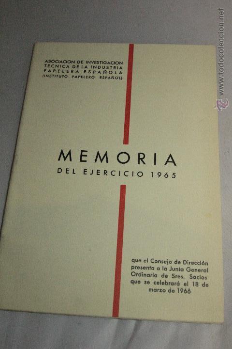 MEMORIA 1965. ASOCIACIÓN INDUSTRIA PAPELERA -DOCG- (Libros sin clasificar)