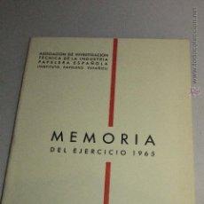 Libros: MEMORIA 1965. ASOCIACIÓN INDUSTRIA PAPELERA -DOCG-. Lote 51636314