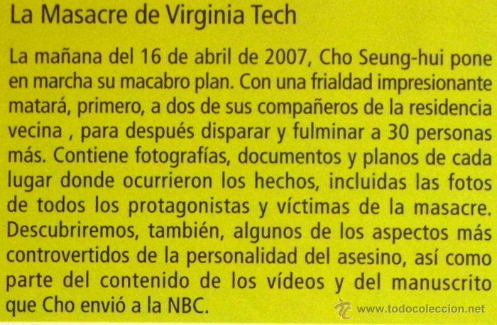 LA MASACRE DE VIRGINIA TECH - ANATOMÍA DE UNA MENTE TORTURADA - LIBRO CRIMEN EEUU - FOTOS DOCUMENTOS