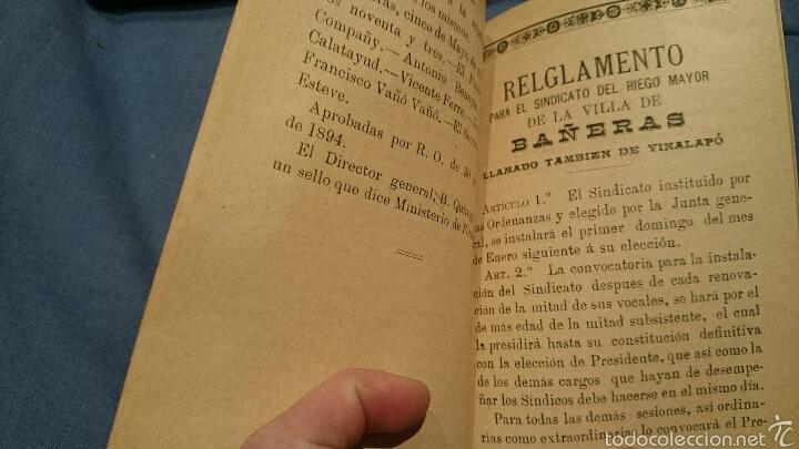 Libros: ORDENANZAS DEL RIEGO MAYOR DE LA VILLA DE BAÑERAS, ALICANTE, 1894, VILLA DEL VINALOPÓ, ORIGINAL - Foto 4 - 53111318