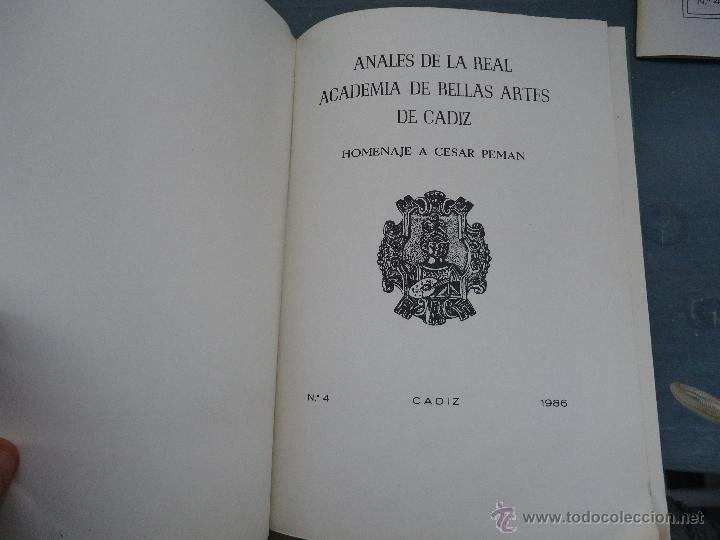 Libros: CADIZ ANALES DE LA REAL ACADEMIA DE BELLAS ARTES 1983 1985 1986 IMAGENES SEMANA SANTA - Foto 3 - 54079017