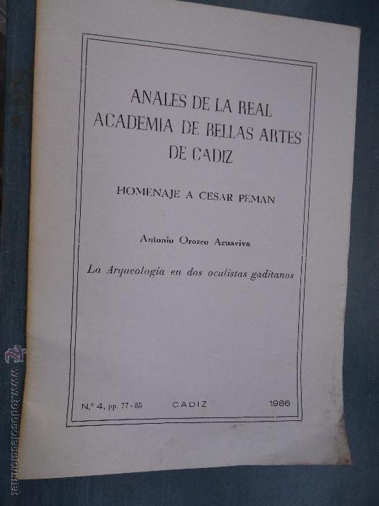 Libros: CADIZ ANALES DE LA REAL ACADEMIA DE BELLAS ARTES 1983 1985 1986 IMAGENES SEMANA SANTA - Foto 4 - 54079017