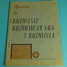 Libros: APUNTES DE BALONCESTO, BALONMANO EN SALA Y BALONVOLEA. Lote 54256260